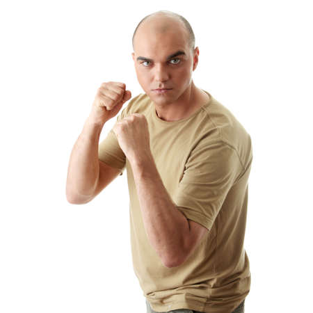 Angry man ready to fight  isolated on white background Stock Photo - 6020200
