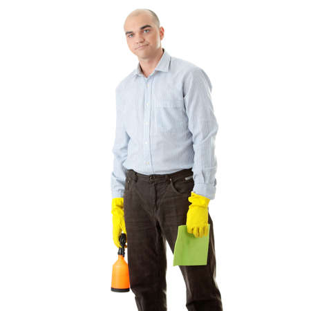Businessman holding a cleaning accessories (isolated on white)  photo