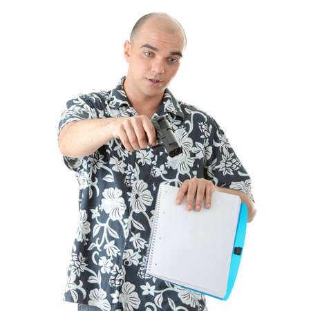 Man with gun trying to make someone to sign papers photo