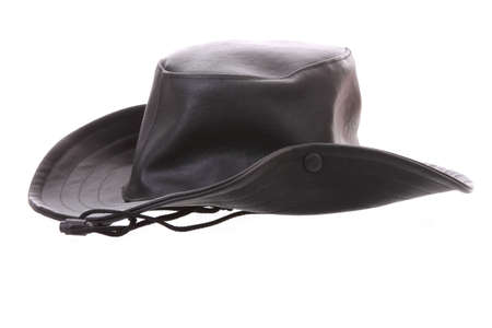 Black, separated male hat  Isolated on white  Stock Photo