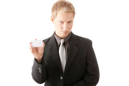Businessman holding blank card isolated Stock Photo - 6019514