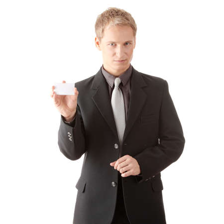 smartness: Businessman holding blank card isolated