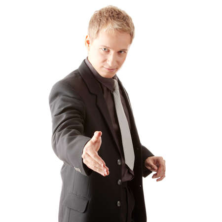 Business man ready to set a deal over white background Stock Photo - 6019527