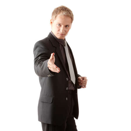 Business man ready to set a deal over white background Stock Photo - 6020147
