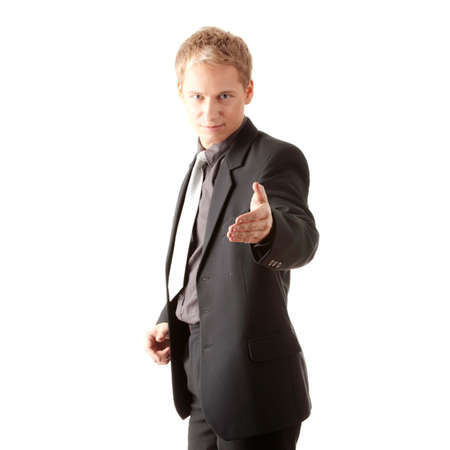 Business man ready to set a deal over white background Stock Photo - 6019822
