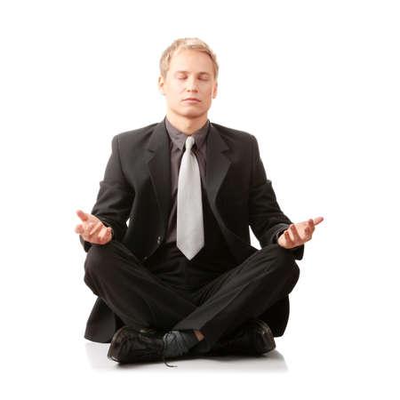 hand position: Empresario sentado en posici�n de loto aislado