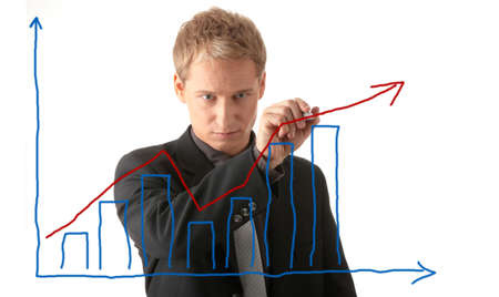 plan a: Business man drawing a plan isolated over a white background