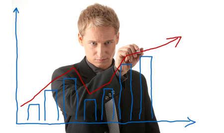 plan van aanpak: Zaken man teken een plan geïsoleerd op een witte achtergrond