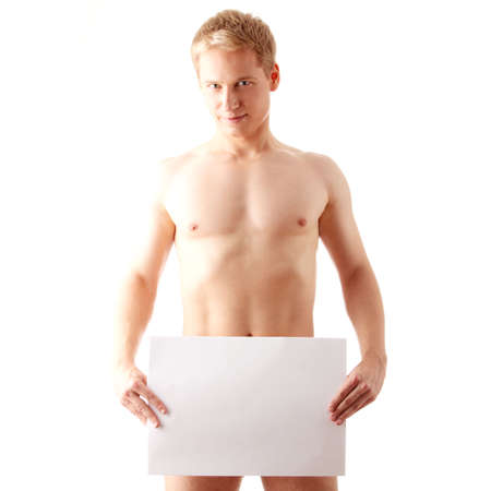 Young muscular nude man covering a copy space blank billboard isolated on white Stock Photo - 6019114
