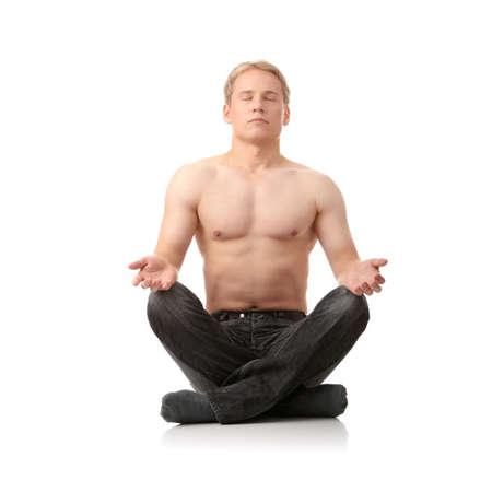 Yoga male isolated on white background photo