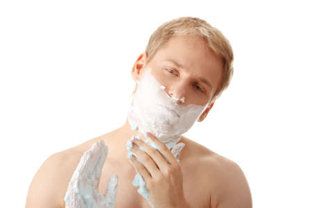 Man shaving isolated on white background  photo