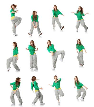 Set of modern dancer poses, isolated white background