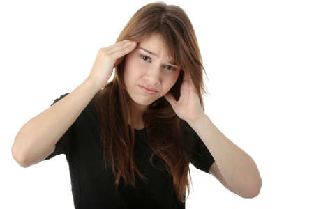 Young woman having a headache ,isolated on white background Stock Photo - 6039980
