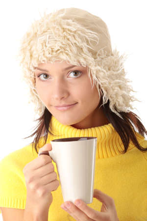 Teen winter girl with cup of hot drink (tea,coffee or milk) Stock Photo - 6039926