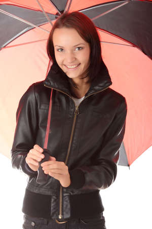 Beautiful teen woman dressed in black under red and black umbrella isolated on white background Stock Photo - 6039892