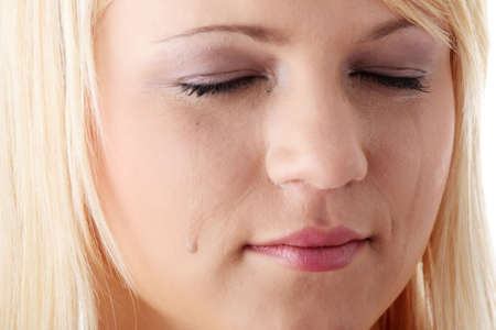 Emotional portrait of the beautiful young woman with tears on the face - emotional pain cocept Stock Photo - 6039971