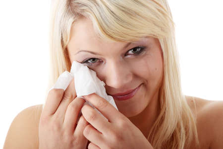 Emotional portrait of the beautiful young woman with tears on the face - emotional pain cocept Stock Photo - 6039935