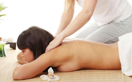 Beautiful caucasian woman getting spa treatment, isolated photo