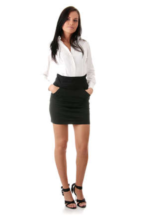 school girl sexy: Young beautiful businesswoman isoalted on white background
