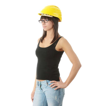 Young woman wearing protective worker hemlet  Isolated on white  photo