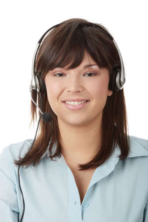 Young beautiful caucasian woman working in call center Stock Photo - 6171057