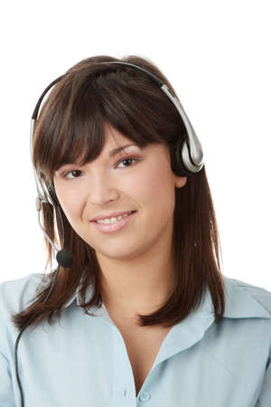 Young beautiful caucasian woman working in call center Stock Photo - 6171150