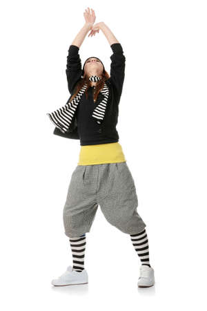 Young funky dancer, isolated on white background Stock Photo
