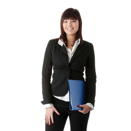 adult  body writing: Confident business woman standing wearing elegant clothes - isolated over a white background