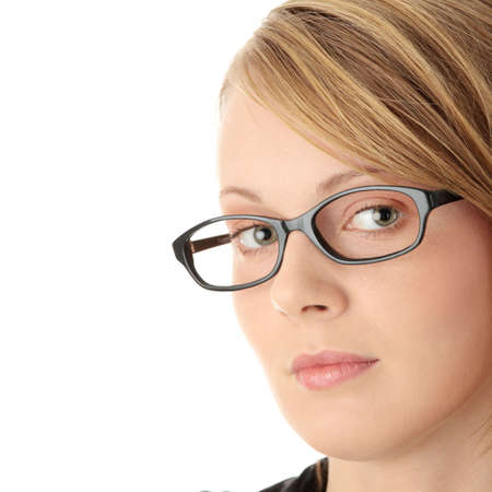 Portrait of a pretty young woman in glasses. Education or business concept. Isolated  photo