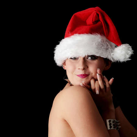 Punk santa girl, isolated on black background photo