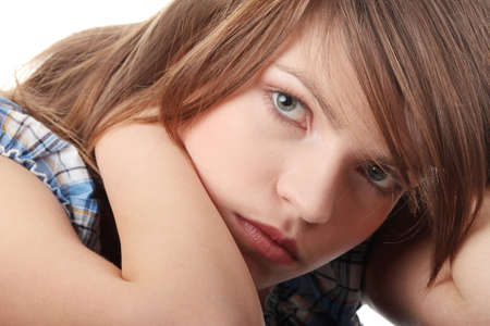 Teenage girl depression - lost love - isolated on white background Stock Photo - 6191980