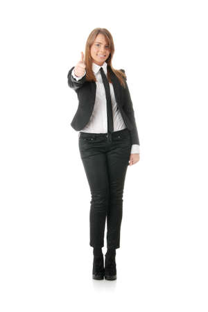 Business woman thumbs up - isolated over a white background Stock Photo - 6247303