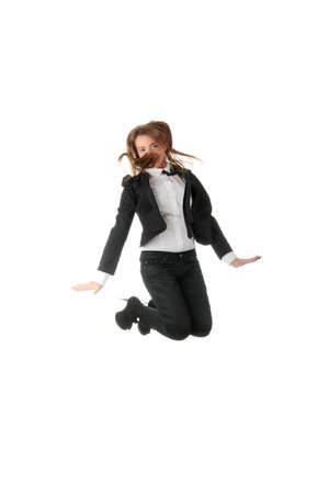 A business woman jumping with hands in the air, isolated  photo