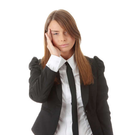 Young business woman with headache, isolated Stock Photo - 6247233