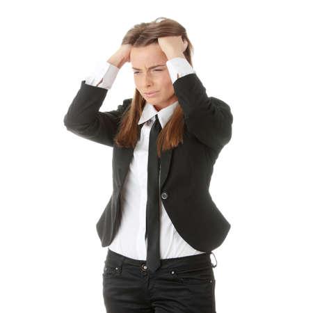 Young business woman with headache, isolated Zdjęcie Seryjne
