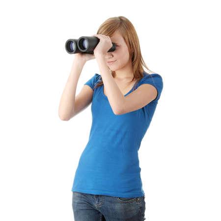 binocular: Teen girl with binocular isolated on white