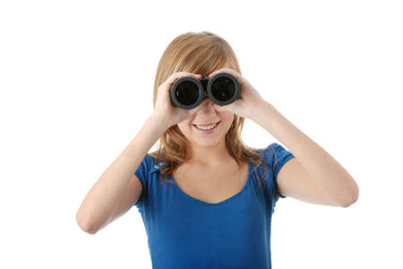 Teen girl with binocular isolated on white Stock Photo - 6247235