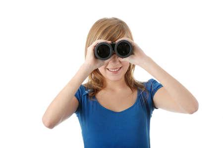 Teen girl with binocular isolated on white Stock Photo - 6247235