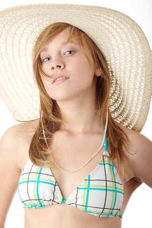 Summer girl isolated on white background photo