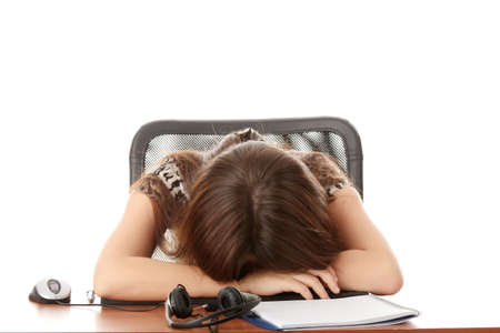 Young beautiful caucasian woman sleeping in call center work Stock Photo - 6271719