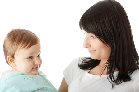 Mother and her baby girl isolated Stock Photo - 6350871