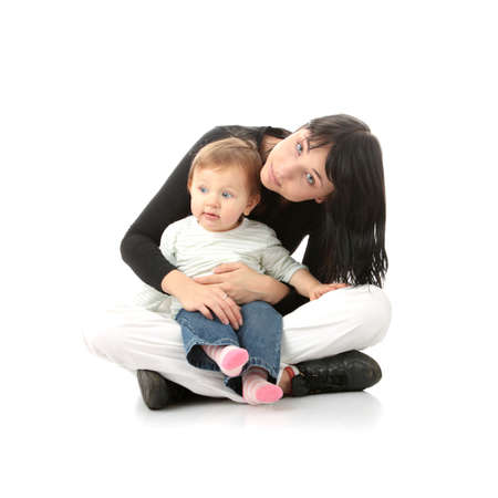 Young mother with baby girl isolated on white background Stock Photo - 6350935
