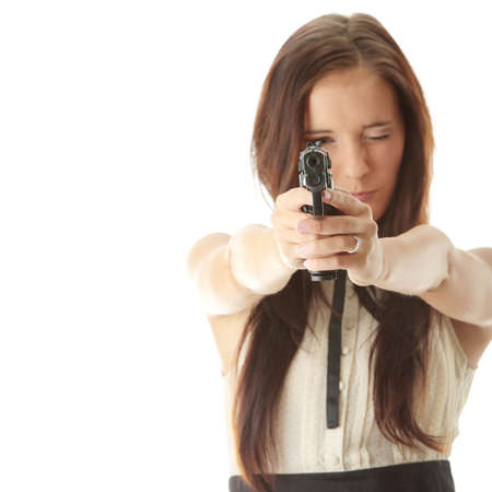 gangster girl: Young woman with hand gun isolated