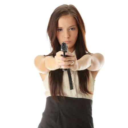 Young woman with hand gun isolated Stock Photo - 6300161