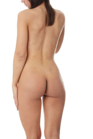 nude butt: Beautiful nude female body isolated on white background  Stock Photo