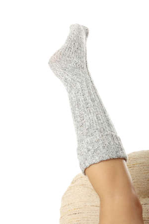 Beauty woman leg in sock isolated on white background  photo