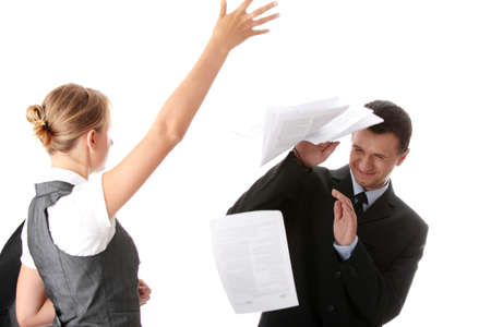 Woman throwing papers on man - office argue concept
