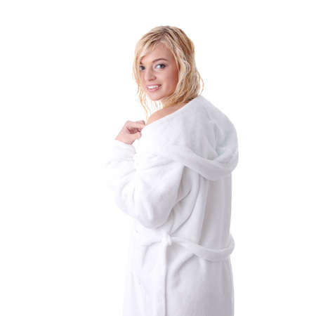 Young beautiful blond teen woman dressed in white bathrobe Stock Photo - 6343532