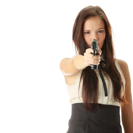 Young woman with hand gun isolated on white bacground Stock Photo - 6343270