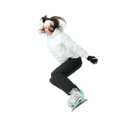 snowboarder jumping: Young woman on snowboard isolated on white background